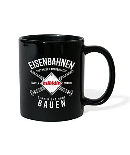 Spreadshirt Märklin Eisenbahnen Bauen Typografie Tasse einfarbig, Schwarz
