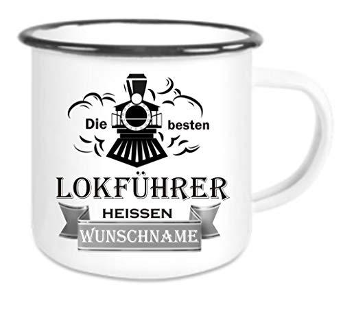 Crealuxe Emailletasse m. Wunschname Die besten Lokführer heißen (Wunschname) - Kaffeetasse mit Motiv, Bedruckte Tasse mit Sprüchen oder Bildern