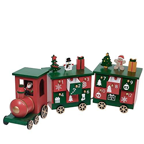 VALERY MADELYN 14cm Weihnachtszug Kalender Holz Mini Zug Adventskalender, Advent Countdown Rot-Grün Weihnachtsdeko mit 24 Aufbewahrungskiste, Kinder Geschenk Kindergarten Dekoration