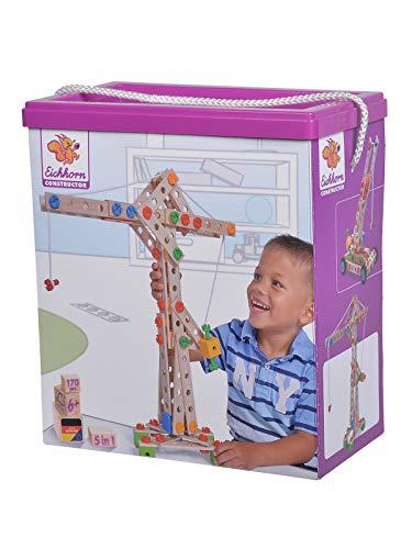 Eichhorn 100039097 Constructor Kran, vielseitiges Holzspielzeug, 170 Bauteile, 5 verschiedene Konstruktionen, für Kinder ab 6 Jahren