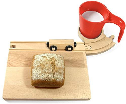 Neue Freunde® Eisenbahn Frühstücks Brett für Kinder - inklusive roter Tasse - Perfekt zum Frühstücken - Ideal für Kinder ab 1 Jahr - Hochwertige Qualität