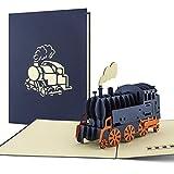 Lokomotive als Pop Up Karte als Geschenk oder Geburtstagskarte für Dampflok-Liebhaber, Glückwunschkarte in 3D, Bahn Geschenkidee, Karte zum Geburtstag, Reisegutschein, Bahnreise, begeistert T09