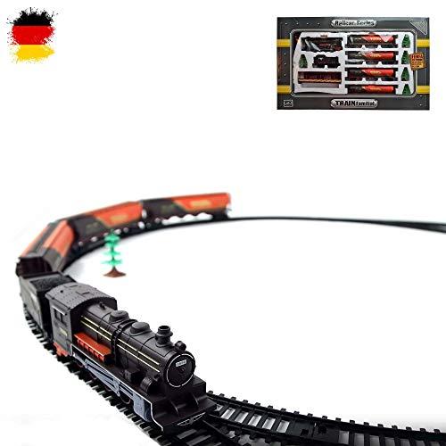 HSP Himoto Elektrische Eisenbahn Starter-Set, Zug, Dampf-Lok ,viel Zubehör und Soundsimulation, Modell-Lokomotive, Komplett-Set inkl. Zubehör