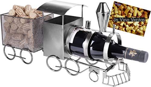BRUBAKER Weinflaschenhalter Lokomotive - Metall Skulptur Flaschenständer - 42 cm Metallfigur Wein Geschenk für Lokführer und Eisenbahn Fans - mit Grußkarte