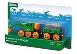 BRIO Bahn 33698 - Grüner Kranwagen mit Anhänger und Fracht