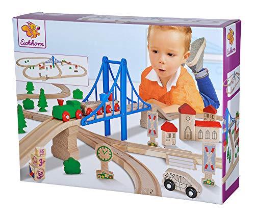 Eichhorn – Schienenbahn mit Brücke – 55-teiliges Holzeisenbahn-Set für Kinder ab 3 Jahren, mit Brücke, Zug, Kirche, Holzauto, uvm., 500 cm Streckenlänge