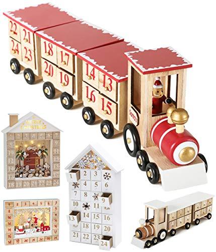 Brubaker Wiederverwendbarer Adventskalender aus Holz zum Befüllen - Rote Lokomotive mit 24 Türchen - DIY Weihnachtskalender 47.5 x 9.5 x 14 cm