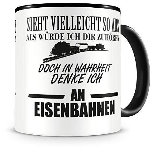 Samunshi® Eisenbahn Tasse mit Spruch Geschenk für Mann Frau Oma oder Opa Kaffeetasse groß Lustige Tassen zum Geburtstag schwarz 300ml
