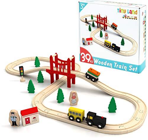 Tiny Land Züge und Holzeisenbahn Pack Eisenbahn Einsteigerset Passend für Thomas Eichhorn Zugset Kleinkinderspielzeug empfohlen ab 3 Jahren