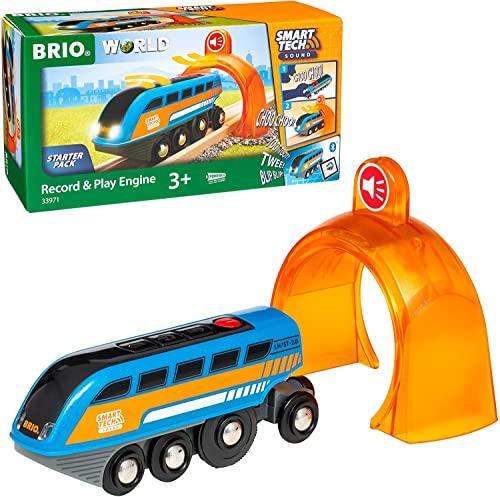 BRIO World 33971 Smart Tech Sound Lok mit Aufnahmefunktion - Elektrischer Zug mit Tunnel - Interaktives Spielzeug empfohlen ab 3 Jahren