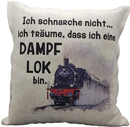 Anti-Schnarch-Kissen Lokomotive Dampflok Spruch Ich schnarche nicht. Geschenk Lokführer Geburtstag Schnarchen Eisenbahn (Leinenoptik)