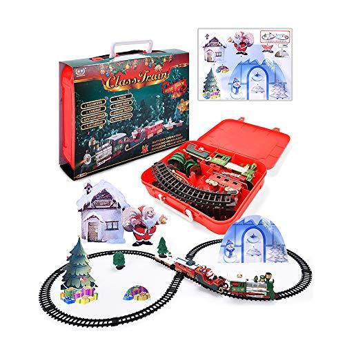 JUSHINI Weihnachtszug Set Spielzeug mit Lichtern und Geräuschen, Elektrische Eisenbahn Weihnachtsmannzug Spielzeug, Eisenbahnstrecke Christmas Train Geschenke für Kinder ab 3 Jahren