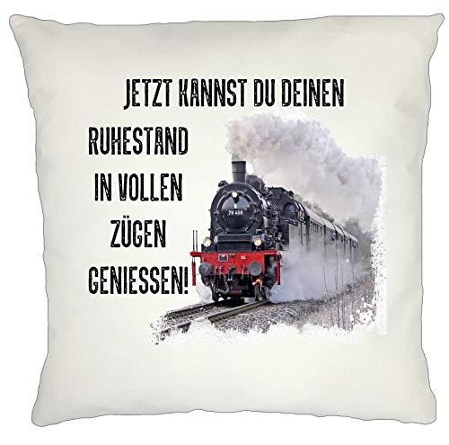 Kissen Rentner Abschiedsgeschenk Jetzt Kannst du deinen Ruhestand in vollen Zügen geniessen Eisenbahn Dampflok 40 x 40 cm (Flauschig)