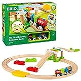 BRIO World 33727 Mein erstes BRIO Bahn Spiel Set – Zug mit Waggon, Schienen & Hängebrücke für Kleinkinder – BRIO Einsteiger-Set empfohlen ab 18 Monaten