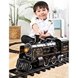 LICHENGTAI Zugspielzeug, Eisenbahn Kinder elektrisch, Modelleisenbahn starterset, elektrische Eisenbahn mit realistischen Zuggeräuschen und Rauchschwarz, Geschenke für Kinder