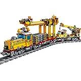 SICI City Güterzug mit Schiene, Technik Zug Eisenbahn Lokomotive Modell mit Motor und Beleuchtungsset, Bausteine Zug 1270 Teile Kompatibel mit Lego Technik