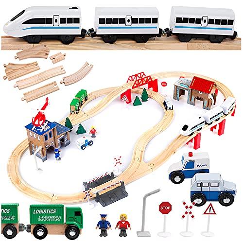 Kinderplay Holzeisenbahn Set - Elektrische Eisenbahn für Kinder, Elektrisch Spielzeug Zug, Polizeistation, Autobahn Kinder und Bahnset mit Brücke, GS0010