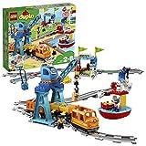 """LEGO 10875 DUPLO Güterzug, """"Push & Go""""-Lok mit Lichtern und Geräuschen, Funktionssteine und 2 Kräne, Spielzeug für Kinder im Alter von 2 bis 5 Jahren"""