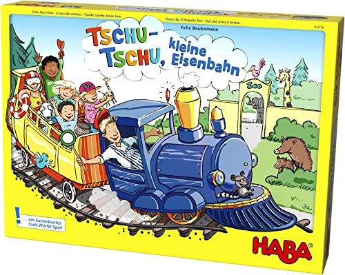 Haba 303736 - Tschu-tschu, kleine Eisenbahn   Brettspiel mit großem Puzzle-Spielplan, Würfel, Eisenbahn, 24 Fahrgast-Plättchen, 3 Weichen und 4 Haltestellen   Spielzeug ab 3 Jahren