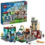 LEGO 60292 City Stadtzentrum Bauset mit Spielzeug-Motorbike, Fahrrad, Truck, Straßenplatten und 8 Minifiguren