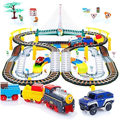 Kinderplay Elektrische Eisenbahn mit Rennbahn - Bahngleise, Autorennbahn, Batteriebetriebener Zug, 2in1 KP0635
