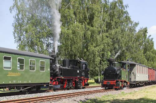 Schmalspurbahn Sachsen: Dampflok-Kreuzung Döllnitzbahn Oschatz-Mügeln
