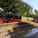 Brockenbahn der Harzer Schmalspurbahnen (HSB) im Bahnhof Schierke
