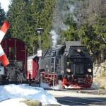 Brockenbahn der Harzer Schmalspurbahnen (HSB) im Bahnhof Drei Annen Hohne