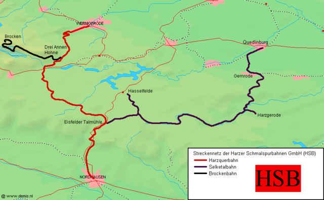 Streckennetz der Harzer Schmalspurbahnen (HSB)
