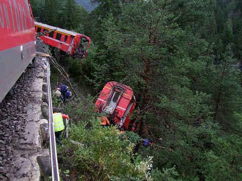 Unfall Albulabahn Glacier Express Bernina Express - Unglück 2014 bei Vaz