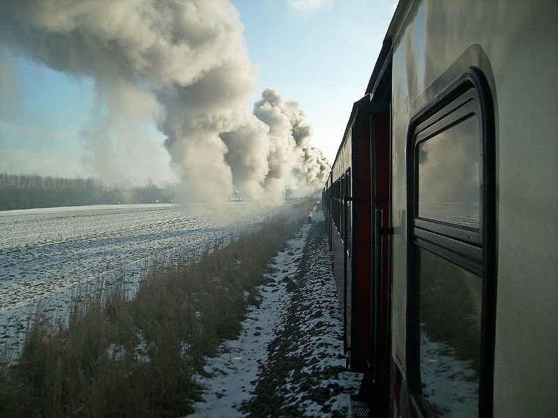 Molli-Bahn entlang Strecke im Winter