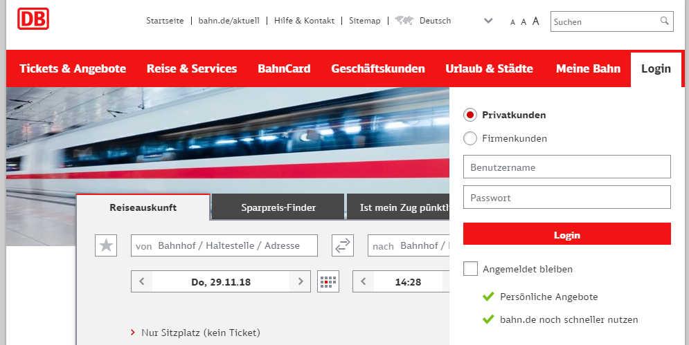 Bahn-Gutschein einlösen - Bahn-Login