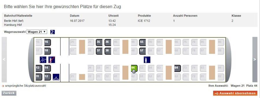 Sitzplatzreservierung Bahn Website