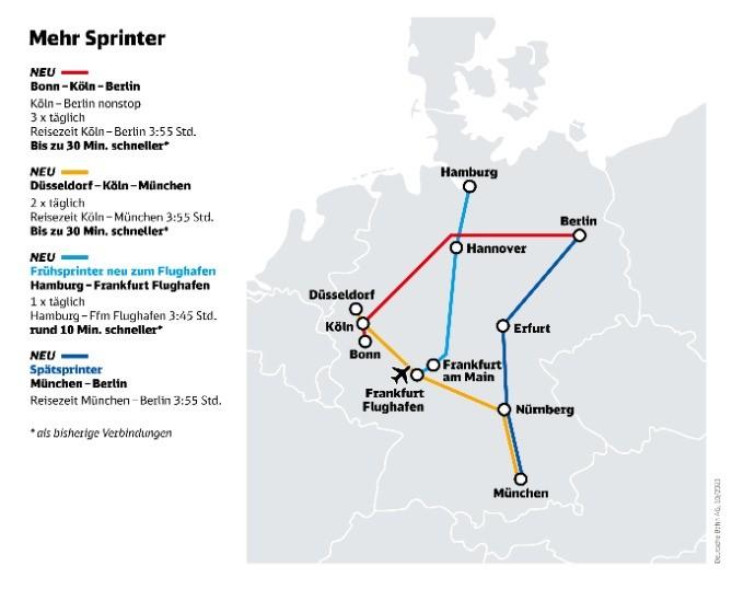 DB Fahrplan 2022 - neue ICE Sprinter Verbindungen