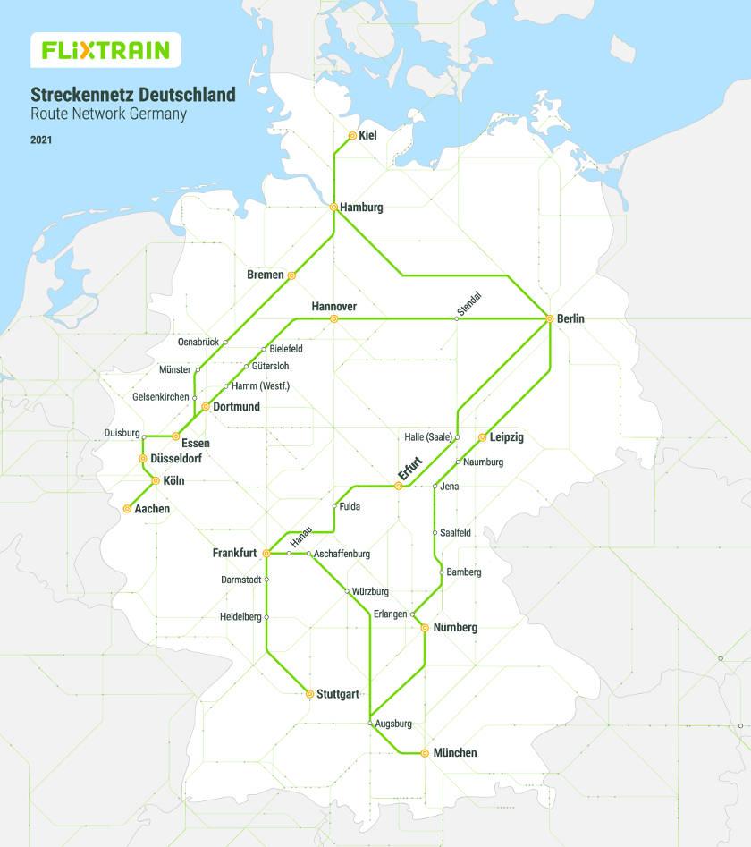 FlixTrain Streckennetz 2021