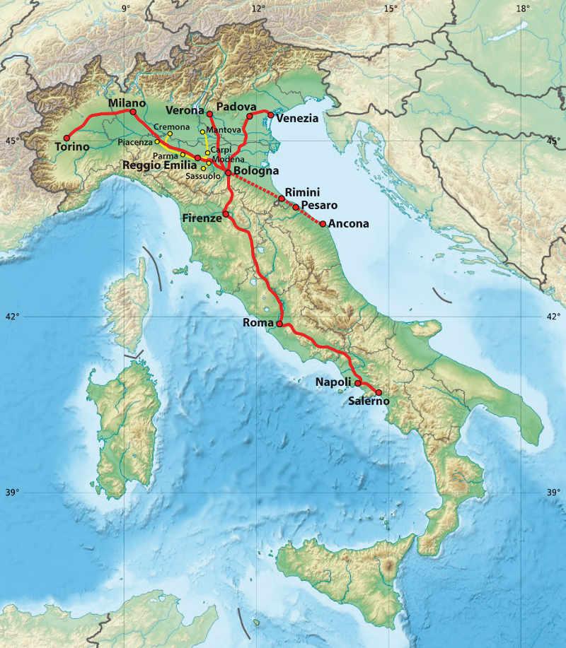 Bahn Italien - italo - Streckennetz