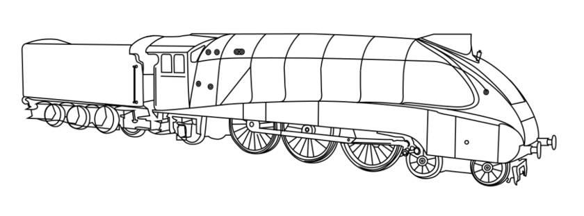 Malvorlage Ausmalbild Dampflok - Mallard