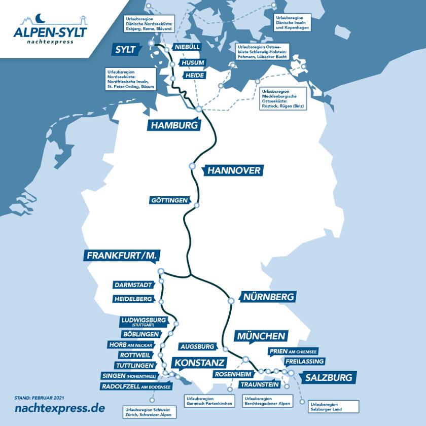 Alpen-Sylt-Nachtexpress Ziele Streckenverlauf