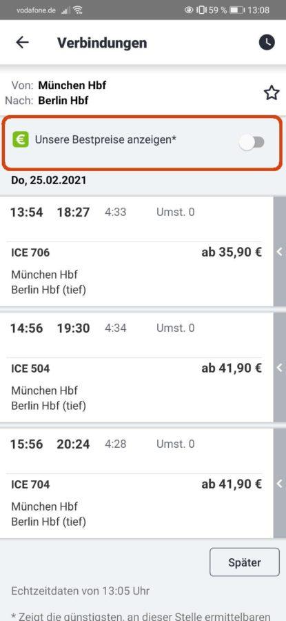 DB Bestpreissuche - DB Navigator - Schritt 2