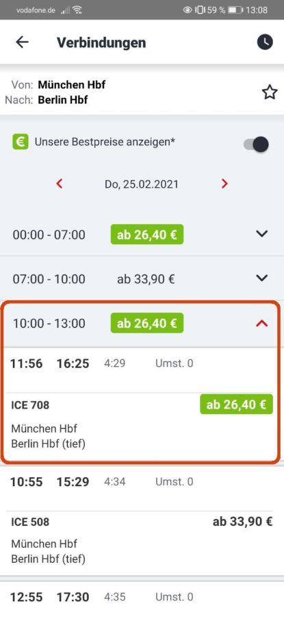 DB Bestpreissuche - DB Navigator - Schritt 3