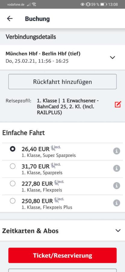 DB Bestpreissuche - DB Navigator - Schritt 4
