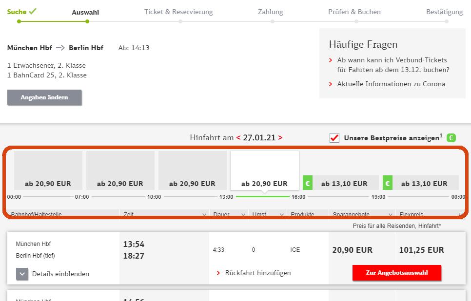 DB Bestpreissuche - Übersicht günstige Bahntickets