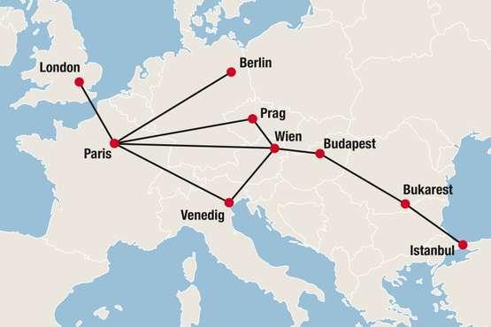 Venice Simplon-Orient Express Streckennetz